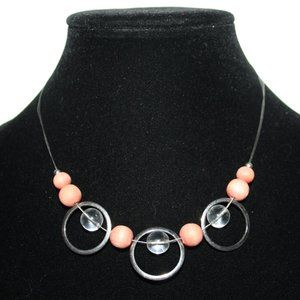 """Vintage peach wooden and silver necklace 17"""""""